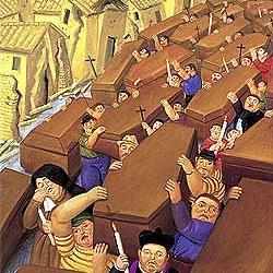 El desfile, del pintor colombiano Fernando Botero, retrata las décadas de violencia en Colombia