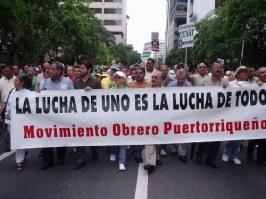 El movimiento obrero puertorriqueño necesita levantar su fuerza para reclamar resolver la crisis de los trabajadores. (Foto 2004, en apoyo a la UIA)